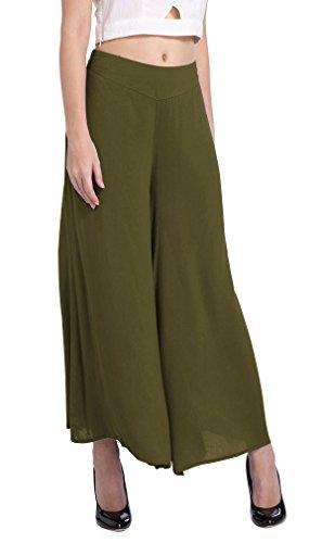 Hikong Pantaloni a Gamba Larga Palazzo Pantaloncini Larghi del Piedino Capri Per Donna, Pantaloni Allentati Casuale per Yoga Danza Sport Tempo Libero Verde