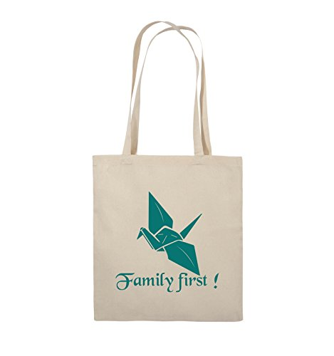 Comedy Bags - Family First Origani - PRISONBREAK - Jutebeutel - lange Henkel - 38x42cm - Farbe: Schwarz / Silber Natural / Türkis