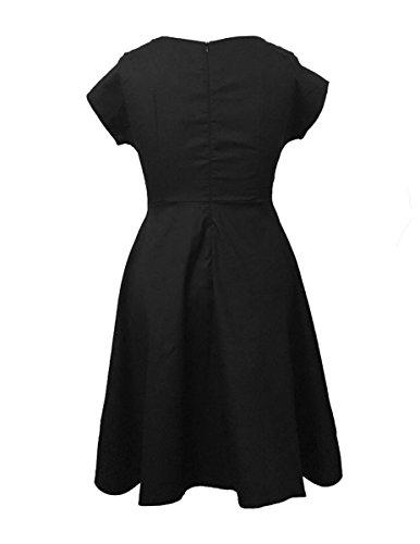 Dissa M118418D Robe de bal Vintage pin-up 50's Rockabilly robe de soirée cocktail,XL-XXXXXL Noir