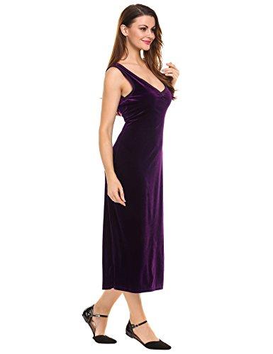 Teamyy Femmes Robe Occasionnels Mode Sans Manches V-Cou Violet