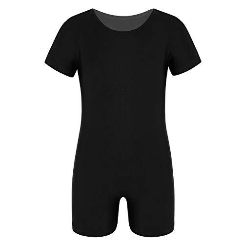 dPois Kinder Unisex Bodysuit Ballettanzug Trikot Kurzarm Sportlich Jumpsuit Shorts Elastisch Einfarbig Training Tanz Gymnastik Gr.104-164 Schwarz 116/6Jahre