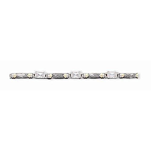 Argento e Vermeil anticato CZ Bracciale - Sterling Silver and Vermeil Antiqued CZ Bracelet