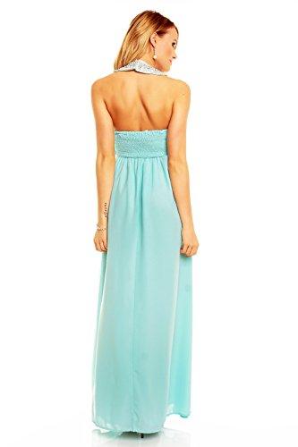 ... Damen Abendkleid Neckholder lang Abiballkleid rückenfrei Maxikleid  Cocktailkleid Chiffon Kleid Mint