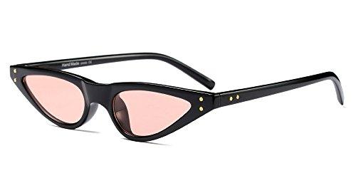 BOZEVON Damen Mode UV Brillen Cool Retro Klassisch Dreieck Sonnenbrille, Schwarz/Rosa