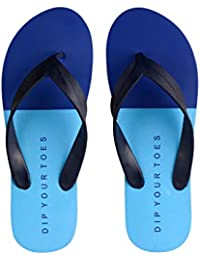 5df9bb6ac3c Dip your toes Blue Coloured Open Toe Printed Stylish Flip Flop for Men s