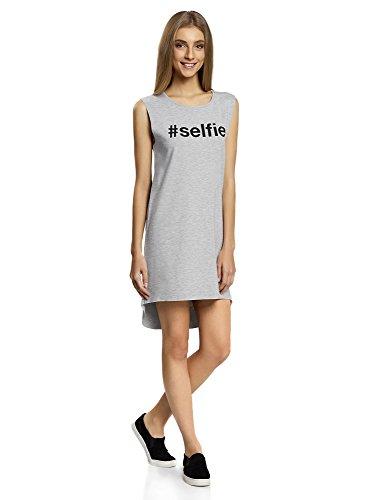 oodji Ultra Femme Robe Style Sportif avec Inscription Gris (2029Z)