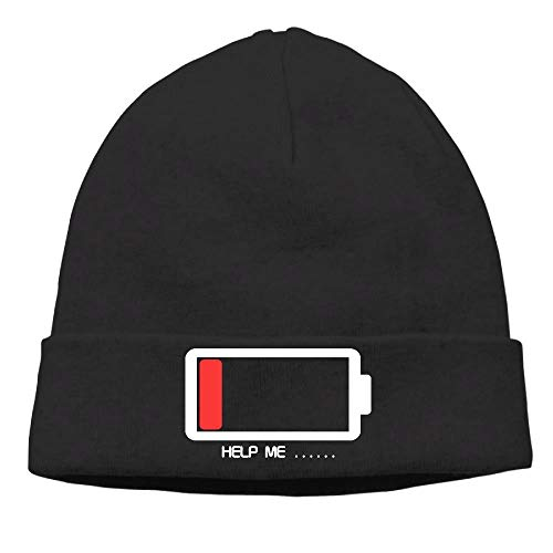 Preisvergleich Produktbild Men Funny Help ME Energy Low Battery Warm Hip-Hop Black Beanies Skull Cap