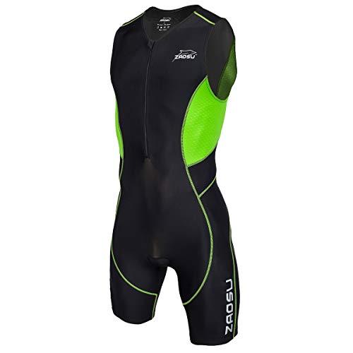 ZAOSU Herren Trisuit Z-Revolution | Triathlonanzug Einteiler mit leichtem Sitzpolster für den Wettkampf und das Training, Größe:M, Farbe:schwarz/grün