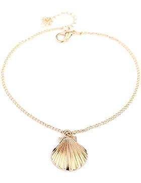 Fablcrew Mode Schale Armband Quaste Fußkettchen Fußkette Süß Schmuck Accessoires Gold für Damen Mädchen