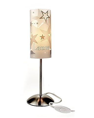 Tischlampe, Kinderzimmer Lampe, Nachttischleuchte, Kinderlampe, Schlummerlampe, Baby Lampe, mit Namen, mit Stecker für Steckdose, für LED Leuchtmittel geeignet, Junge, Mädchen, Stern, grau, beige