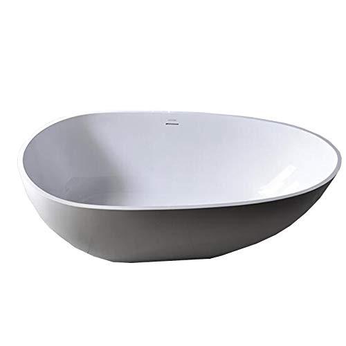 Freistehende Badewanne VELA aus Mineralguss Solid Stone - Farbe und Größe wählbar, Farbe:Weiß (matt), Größen:170 x 86 cm (Stone Freistehende Badewanne)