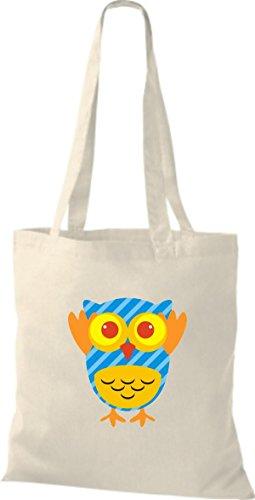 ShirtInStyle Jute Stoffbeutel Bunte Eule niedliche Tragetasche mit Punkte Karos streifen Owl Retro diverse Farbe, rosa natur