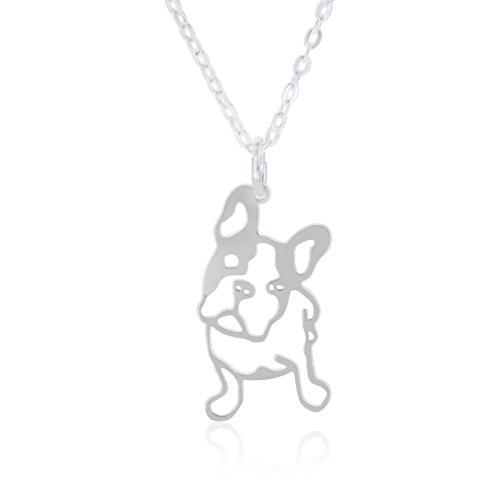 Halskette French Bulldog (Französische Bulldogge) für Damen, Junge Mädchen, hergestellt aus 925 Sterling Silber, Anhänger Hund mit 40cm Kette, in Geschenkbox