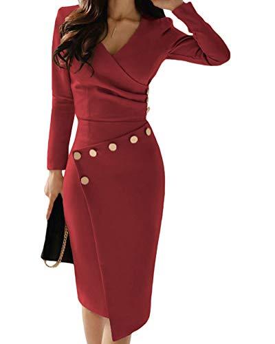 Minetom Damen Kleider Langarm Bodycon Formelle Büro Kleid V-Ausschnitt Knielang Cocktail Asymmetrie Unregelmäßig Party Sexy Abenkleid Dress Rot DE 44