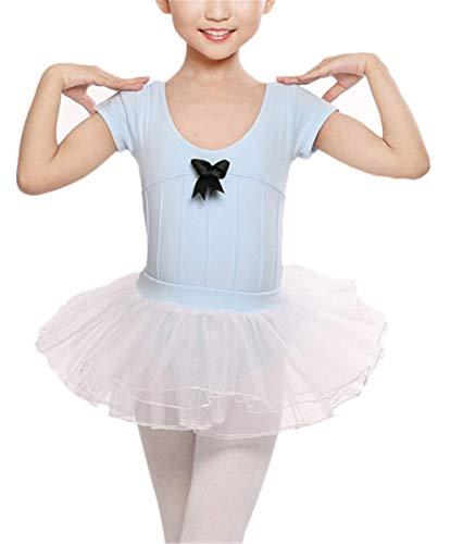 AISHANGYIDE Kinder Mädchen Kleid Ballettkleidung Ballettkleid Kurzarm Ballett Trikot Ballettanzug Tanzkleid mit Röckchen Sommer Tanz Kostüm Ballett Kinderoverall mit Tütü Tutu Klassisch 2pcs (Klassische Ballett Tanz Kostüm)