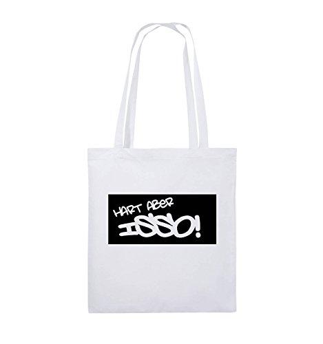 Comedy Bags - HART ABER ISSO! - Jutebeutel - lange Henkel - 38x42cm - Farbe: Schwarz / Silber Weiss / Schwarz