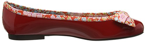 French Sole Damen Henrietta Large Bow Patent Leather John D Liberty Print Ballerinas Rot