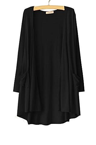 Women's Ultra Soft Natural Classic Long Sleeve Irregular Hem Open Drape Style Cardigan with Pocket black