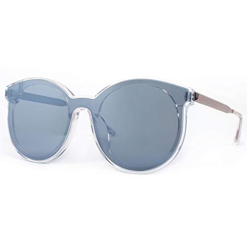 WangYi Sonnenbrillen- Vintage Unisex-Sonnenbrille mit UV-Schutz, Einteilige Nylon-Sonnenbrille, runde Sonnenbrille, handgefertigt, schwarz, Silber, grau (Color : Silver, Size : 14.5cm)