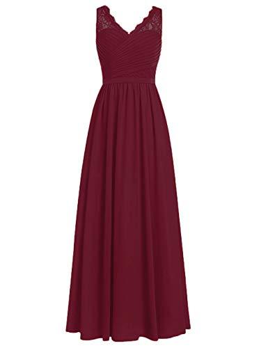 Burgund Quinceanera Kleid (Brautjungfernkleider Spitze Lang A-Linie Chiffon Ballkleider V-Ausschnitt Ärmellos Abendkleider Hochzeit Kleider Burgund 42)