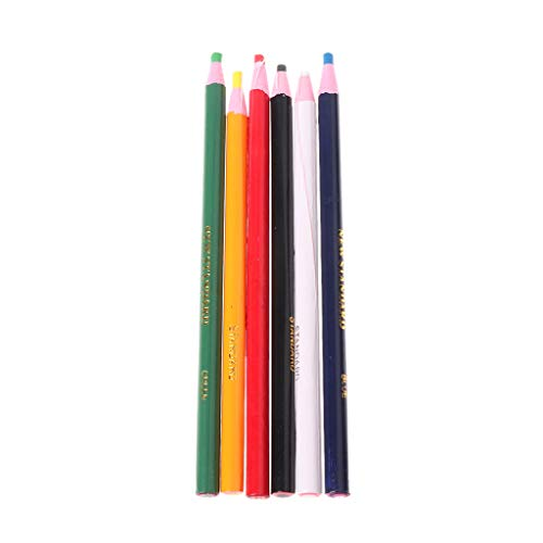 Kanitry 6 Farben Marker für Metall Glas Stoff China Graph Peel Off Fett Wachs (Keine 2 Bleistift Kostüm)
