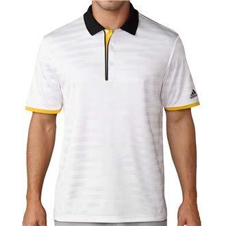 adidas 2017 Men's Asymmetrical Striped Short Sleeved Golf Polo Shirt White Medium - Adidas Striped Polo