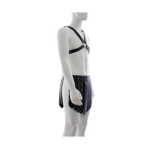 MJY Erwachsene Produkte Korsett Herren Unterwäsche Leder Gras Rock Gladiator Dessous Performance Kleidung Kostüme,Schwarz -