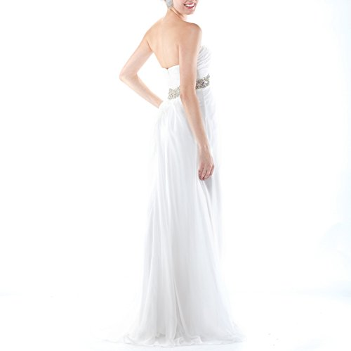 Bridal_Mall Women's Sweetheart Empire Flowing Chiffon Bridal Wedding Party Dresses White