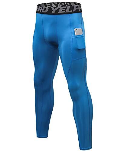 Shengwan Leggings Largos Hombre Mallas de Compresión Secado Rápido Yoga Deportes Pantalones de Correr con Bolsillo Azul XL