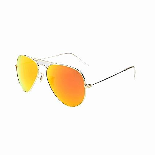 Wangwen HD Nylon Aviator Sonnenbrille Für Männer, Nicht Polarisiert, Herren, Militärstil, Nicht Polarisiert, 57 Mm, UV400, (Color : Golden Frame Yellow Piece)