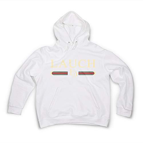 Herren Hoodie Lauch Mode Gang Männer Gr. M Kapuzenpullover in Weiß mit Kapuze Design Pullover Sweatshirt Sweater Fashion Unisex Fitness Gym