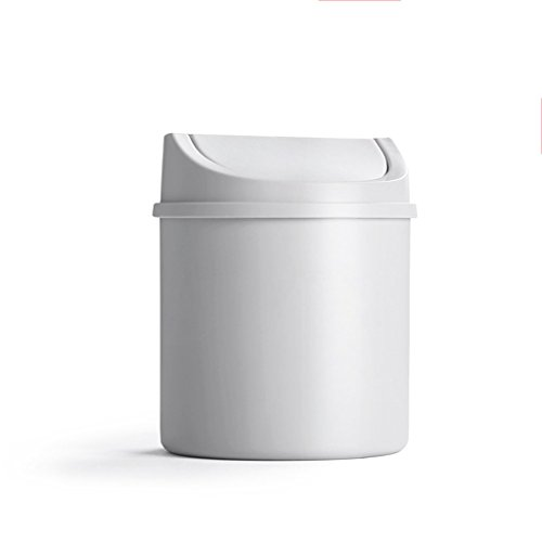 LYL Creative Desktop Trash Can Lid Mini Living Room Bedroom Bedside Creative Small House Trash (13.5 * 16.5cm) ( Couleur : Blanc )