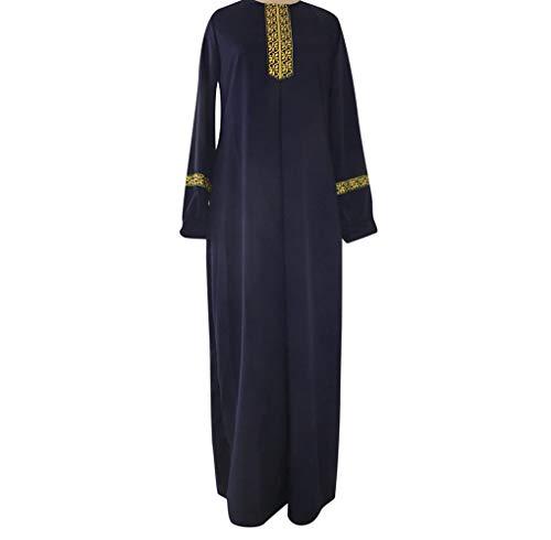 Größe Drucken Abaya Jilbab Muslim Maxi Casual Kaftan Langes Kleid Robe Maxikleid Langarm Sticken Gewand Abendkleid Große Dubai Hochzeit Tunika Lang Kleider(Marine,2XL) ()