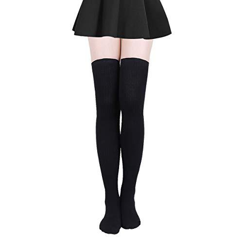 Damen Kniestrümpfe - Overknee Strümpfe Streifen Lange Socken Retro Knitting Strümpfe Mädchen Cheerleader Sportsocken Baumwollstrümpfe (Schwarz A), Schwarz A, Durchschnittlicher Code