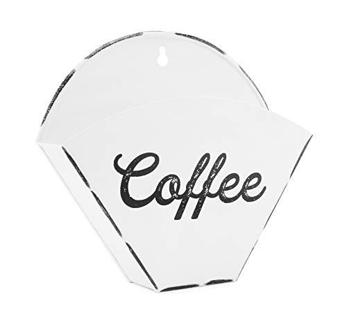 AuldHome Emaillegeschirr Kaffeefilterhalter, Wandmontage, Vintage-Stil, Bauernhaus-Stil, Weiß