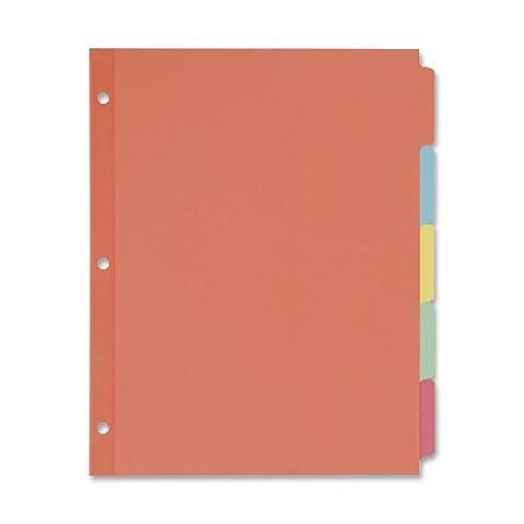 Write-On Plain Tab Dividers, Five Multicolor Tabs, Letter, Salmon, 36