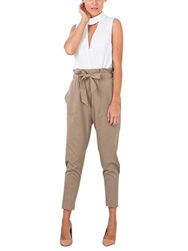 Missy Chilli Damen Hosen Elegant High Waist Skinny Strech Skinny Chiffon Hosen Casual Streetwear Pants Braun