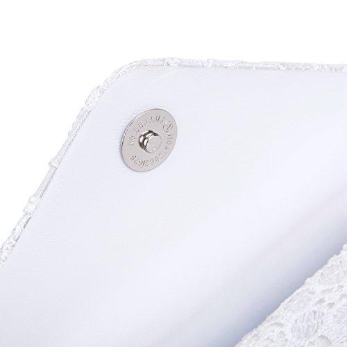 Pochette a Busta da Cerimonia Raso Borsetta da Sera Borsa da Matrimonio Elegante Portafoglio con Catena per Nozze Festa Partito, Nero Bianco