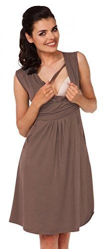 Zeta Ville - Damen Still Kleid Diskretes Stillen Skaterkleid Schwangere - 500c (Cappuccino)