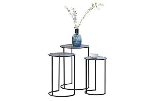 LIFA LIVING 3er Set Beistelltisch rund, Couchtisch aus schwarzen Metall, moderner Gartentisch im Industriedesign, Deko Tisch für Wohnbereich, stapelbar, Belastbarkeit 3X 2 kg