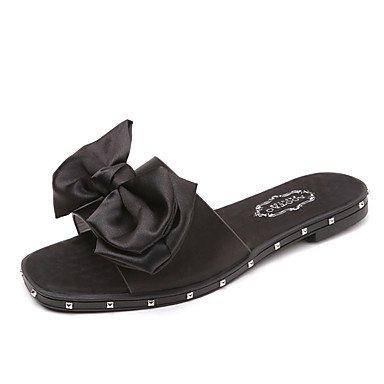 zhENfu donna pantofole & amp; flip-flops sandali estivi in tessuto Casual Walking Bowknot tacco piatto bianco nero rosa arrossendo sotto 1in Black