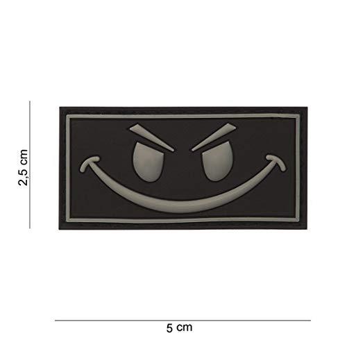 Tactical Attack Evil Smiley grau Softair Sniper PVC Patch Logo Klett inkl gegenseite zum aufnähen Paintball Airsoft Abzeichen Fun Outdoor Freizeit