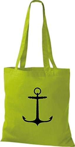 ShirtInStyle Stoffbeutel Baumwolltasche Sailing Motive Anker limegreen