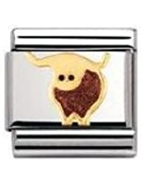 Nomination Composable Classic Land Animals Elk Stainless Steel, Enamel and 18K Gold