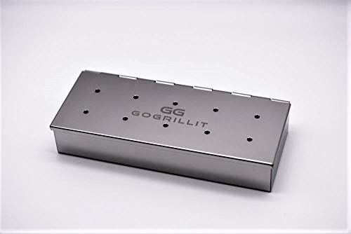 GOGRILLIT Räucherbox/Räucherschale - Premium Smoker-Box aus rostfreiem Edelstahl - das perfekte Grillzubehör zum Räuchern - für jeden Holzkohle- und Gasgrill geeignet (Metall, Räucherbox)