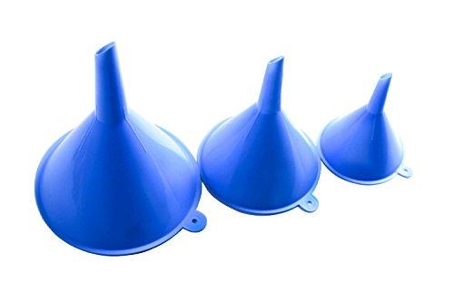 Preisvergleich Produktbild 3 Kunststoff Trichter | Großer Mittelgroßer Kleiner Trichter für Öl, Sand und Flüssigkeit | Sandkunst Kunstwerke | Blaue Farbe Klar Einfülltrichter