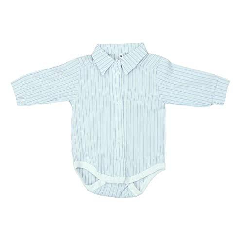 TupTam Unisex Baby Hemd-Body Langarm mit Kragen, Farbe: Blau Gestreift, Größe: 80 (Junge Gestreiften Hemd)