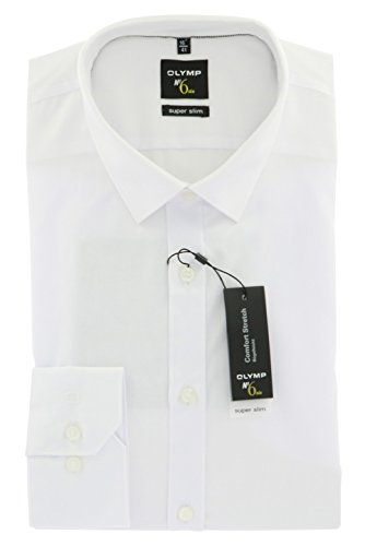 Herren Hemd No. 6 Super Slim Fit Langarm,  weiss,  M (40)