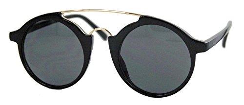 Retro Sonnenbrille für Herren & Damen Round Metal Bridge FARBWAHL MBK (Schwarz / Smoke) (Gucci Tattoo)