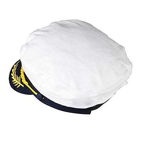 NaiCasy Männer Seemann Kapitän Hat Stickerei Seemann Hüte Adjustable Marine Kappen Kapitän Kostüm-Hut Weiß